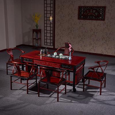 琪梦红木家具非洲红花梨木茶桌一桌五椅功夫茶桌仿古雕花喝茶桌