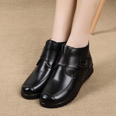 策霸2019新款女士高帮鞋妈妈鞋棉鞋冬季真皮中老年人皮鞋加厚加绒保暖魔术贴棉鞋子