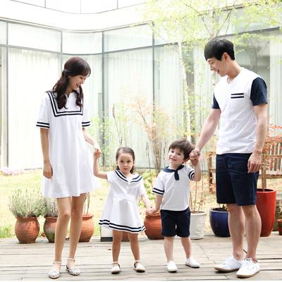 佰怡人 韓版親子裝短袖海軍風套裝時尚夏季新款T恤一家三口四口家庭裝全家裝短褲童裝男童 Q029