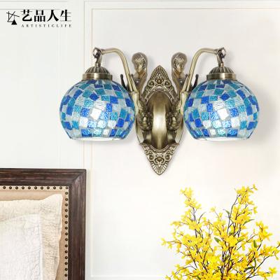 藝品人生 美式簡約床頭壁燈藍色鄉村臥室過道燈走廊led創意地中海壁燈