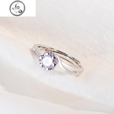 925纯银韩版欧美开口戒指女 气质流行百搭锆石镶钻银戒指时尚指环   JiMi