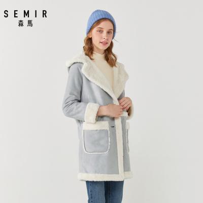 Semir森马风衣女2019冬季新款宽松中长款外套加绒保暖仿麂皮绒少女港味