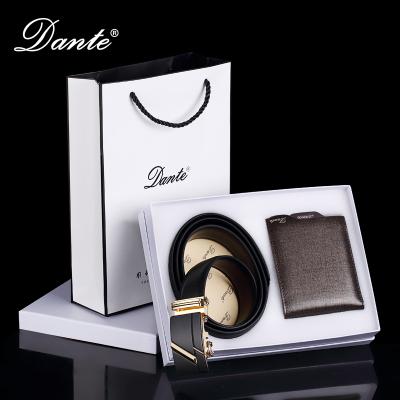 Dante丹迪牛皮男士钱包短款商务休闲多卡位多功能经典款钱夹男士自动扣皮带礼盒套装