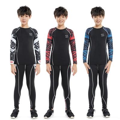 18公主(SHIBAGONGZHU)兒童緊身衣訓練男 長袖跑步健身服籃球足球服運動套裝打底速干衣