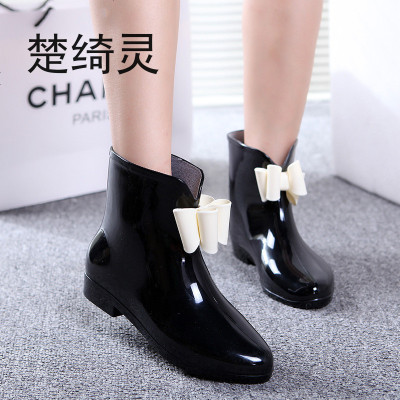 楚綺靈時尚雨鞋女短筒春秋雨靴成人低幫水靴白領防水鞋套鞋韓國膠鞋防滑