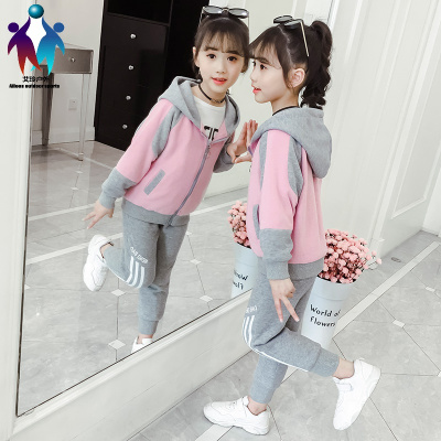 【厂家直营】女童秋冬套装2019新款儿童网红洋气小女孩冬季加绒加厚卫衣运动服
