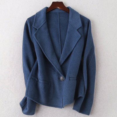 2019秋冬新款時尚雙面毛呢大衣女士短款流行羊毛呢子外套