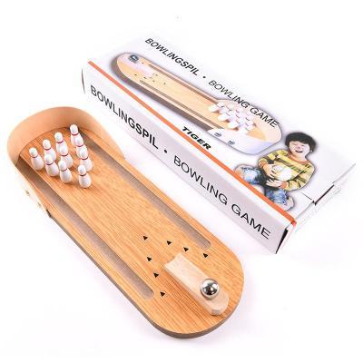 創意迷你木質保齡球兒童寶寶成人指尖桌面小玩具鋼珠桌游聚會游戲[定制] 木質款保齡球