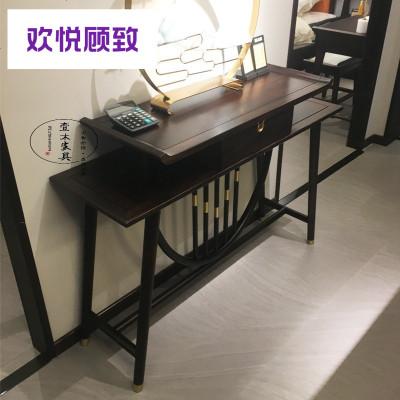新中式玄关桌禅意条案端景台实木玄关柜复古装饰柜隔断装饰台定制
