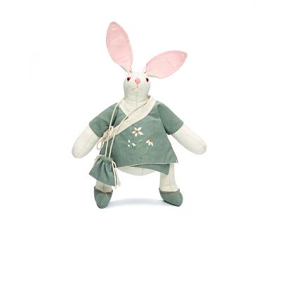這就是手藝古風我兔公仔玩偶原創中國傳統特色手工藝品創意禮品個性生日禮物 我兔公仔-綠色