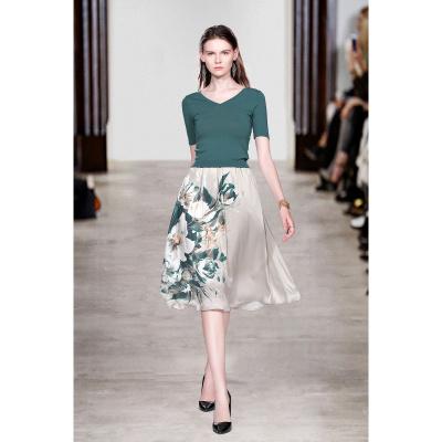 遇見衣姿2020潮款V領短袖針織上衣印花A字半身裙套裝時尚修身兩件套