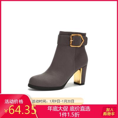 Daphne/达芙妮冬新款短靴时尚圆头粗跟低筒时装靴女1017605273