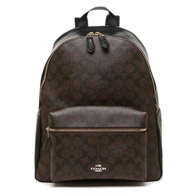 COACH蔻馳女包女士雙肩包拉鏈式C字紋背包 牛皮F38301/58314 歐美時尚深咖啡色褐色 大號