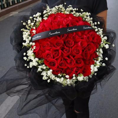 鼎卉鲜花33朵红玫瑰满天星花束爆款,全国市区免费配送送女友送爱人生日表白女王节妇女节祝福、道歉 【承诺】33朵红玫瑰花束
