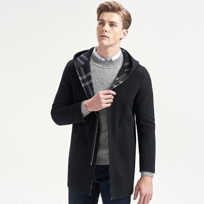 七匹狼毛呢大衣男士2019冬季新款时尚商务休闲羊毛连帽双面呢中长装外套001(