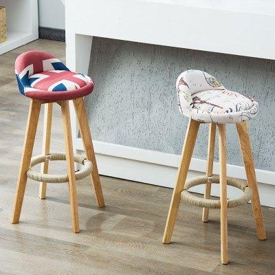 京好 吧台椅 现代简约吧椅家用实木高凳子时尚创意酒吧凳旋转椅子高脚凳H136