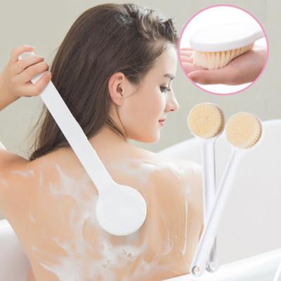日本良品長柄洗澡刷軟毛洗搓背刷沐浴球溫和去角質搓背按摩搓澡刷洗澡神器白色 清迅