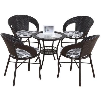 悅含新款田園陽臺戶外桌椅套件休閑椅子藤椅簡約小茶幾庭院三件套