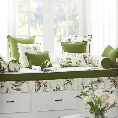 BONJEAN飄窗墊定做美式鄉園窗臺坐墊榻榻米墊子加厚可拆洗