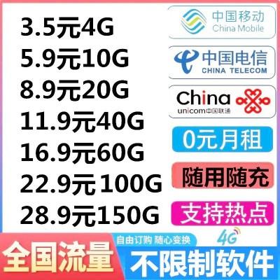 電信流量卡4g流量手機卡電話卡0月租大王卡全國通用不限速流量卡手機上網流量卡
