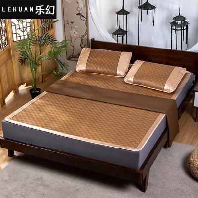 樂幻(LEHUAN)家紡 加厚可折疊涼席 藤席三件套 夏季1.8米涼席1.2米1.5米單雙人席子御藤席涼席套件仿藤席圖案