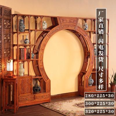 可定做博古架月亮明清仿古實木家具雙圈雙面花月洞客廳隔斷邁菲詩