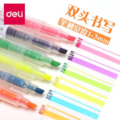 得力(deli) S623 雙頭熒光筆 標記筆 學生用 糖果色 瑩光彩色 記號筆 馬克筆 彩色熒光筆 劃重點筆 熒光筆