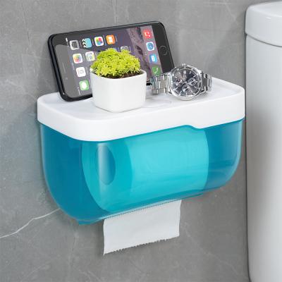 衛生間紙巾盒廁所衛生紙置物架廁紙盒免打孔防水卷紙筒創意抽紙盒 大號藍色