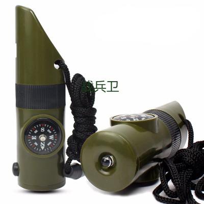 戰兵衛戶外野營七合一多功能口哨 求生哨救生哨子 帶LED燈指南針