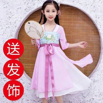 女童漢服2020夏裝新款唐裝中國風公主裙子小女孩連衣裙兒童演出服