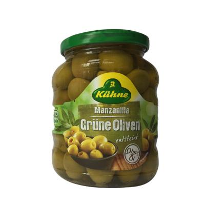 進口 德國冠利(KUHNE)腌綠橄欖 去核青水欖西餐配菜 漢堡披薩配料沙拉三明治佐料 340g