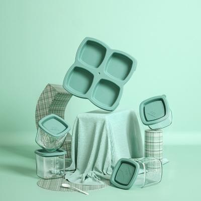 babycare婴儿辅食保鲜盒 玻璃碗冷冻格外出便携零食盒 宝宝餐具格 雀湖绿120ml 2192