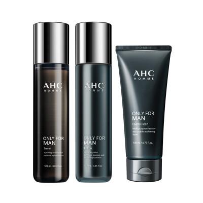 AHC男士水乳套裝 韓國化妝面部護膚套裝禮盒爽膚水乳液洗面奶補水保濕緊致護理禮盒 男士水乳洗面奶 三件套裝