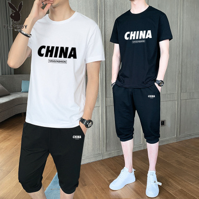 花花公子 ( PLAYBOY ICON )男士短袖t恤男套裝2020新款休閑運動兩件套潮牌潮流一套搭配半袖衣服帥氣體恤
