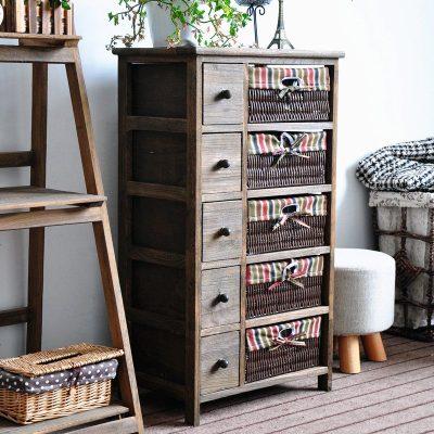 复古实木床头柜整理收纳柜抽屉式收纳柜多层现代简约藤编储物斗柜