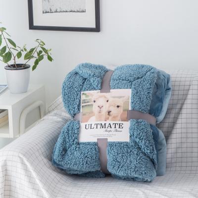 玛迪瑞娜R.XKarina家纺 ins风冬季双层AB版纯色羊羔绒毛毯被子法兰绒小毯子加厚保暖午睡毯珊瑚绒