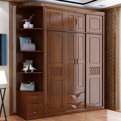 中式現代實木衣柜2門4門整體推拉滑移門板式臥室成人大容量儲物柜