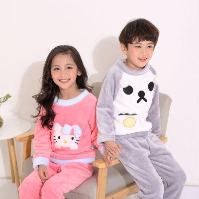 儿童睡衣男童春秋冬季珊瑚绒法兰绒加厚款中大童卡通绣花家居服