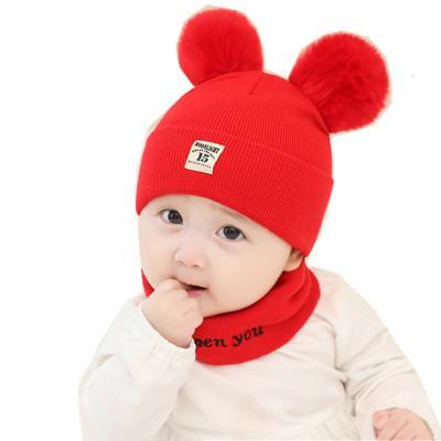 婴儿帽子秋冬男女宝宝毛线针织帽儿童保暖围脖套头帽冬季帽子