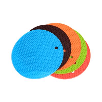 欧润哲 五彩圆形硅胶隔热垫 防烫防高温餐桌垫家用厨房锅垫盘垫杯垫 直径18cm