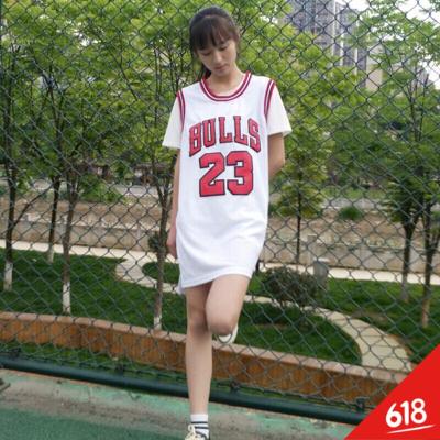 刺绣篮球服背心裙女学生23宽松T恤裙无袖连衣裙球衣中长款BF风原宿