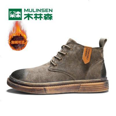 木林丁靴男英伦风冬季加绒保暖棉鞋中高帮男鞋工装靴雪地靴男