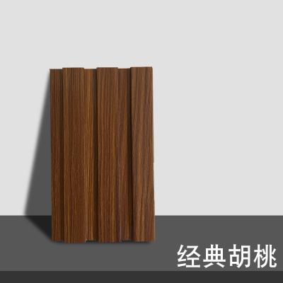 生態木大長城板 覆膜墻裙護墻板陽臺吊頂客廳背景墻天花板PVC裝飾 經典胡桃