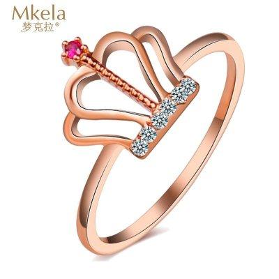 夢克拉Mkela 18k鉆石紅寶石戒指 玫瑰金 王冠 k金鉆石剛玉指環 女士