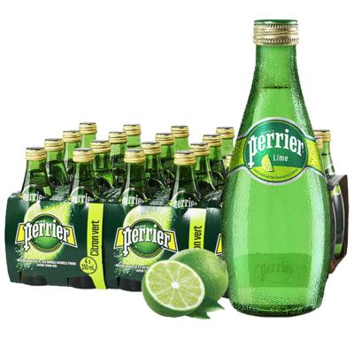 【奢華玻璃瓶】巴黎水(Perrier)天然氣泡礦泉水(青檸味)玻璃瓶裝330ml*24瓶/箱 進口飲用水 法國進口