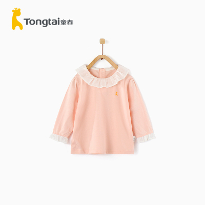 童泰2020年春夏新款女嬰衣服全棉上衣1-4歲女寶寶翻領花邊上衣