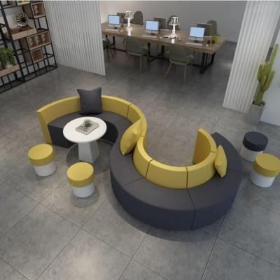 休息区轻奢弧形圆形休闲异形创意接待会客区s形沙发茶几组合定制