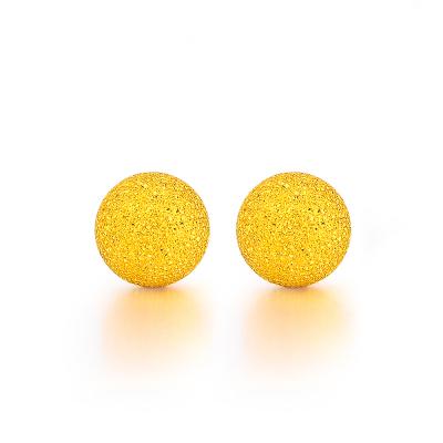 周大生黃金飾品黃金耳釘女足金球形磨砂耳環正品珠寶首飾計價