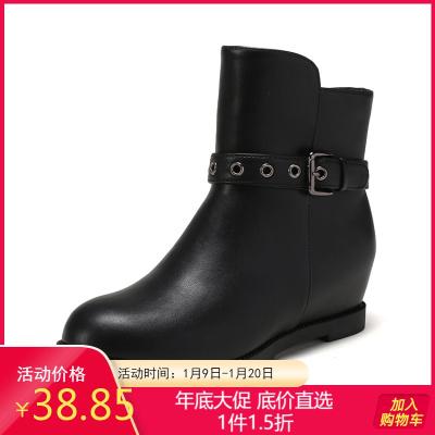 鞋柜冬新款粗跟加绒短靴皮带扣中低跟圆头百搭女鞋1717607040