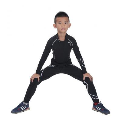 兒童緊身衣套裝男長袖速干彈力足球籃球運動打底套裝訓練緊身褲